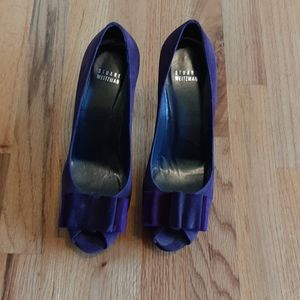 Purple suede peeptoe pumps size 9M